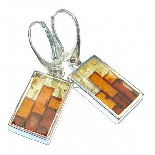 Gorgeous Polish Baltic Mosaic Amber .925 Sterling Silver entirely handcrafted earrings