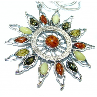 Huge Arizona Sun Dazzling Natural Polish Amber .925 Sterling Silver handcrafted necklace