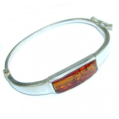 Chunky Luxury Baltic Amber .925 Sterling Silver handmade Hinged Bracelet