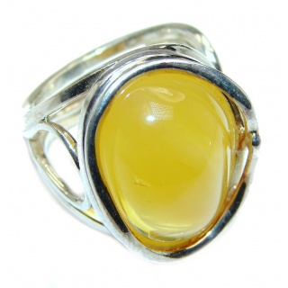 HUGE Genuine Baltic Amber .925 Sterling Silver handmade Ring size 8