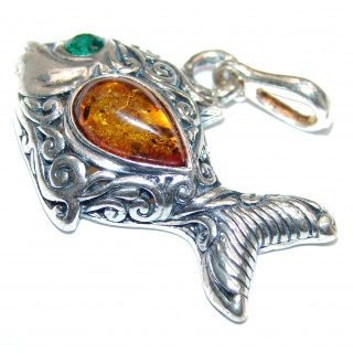 Lucky Fish Polish Amber .925 Sterling Silver handcrafted Pendant