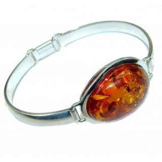 Chunky Luxury Baltic Amber .925 Sterling Silver handmade Bracelet