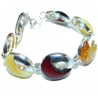 Beautiful multicolor Amber .925 Sterling Silver handcrafted Bracelet