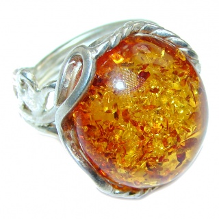HUGE Genuine Baltic Amber .925 Sterling Silver handmade Ring size 8 adjustable