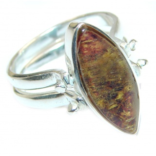 Reversible Larimar - Baltic Amber .925 Sterling Silver handcrafted Ring s. 8