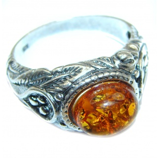 HUGE Genuine Baltic Amber .925 Sterling Silver handmade Ring size 9 1/2