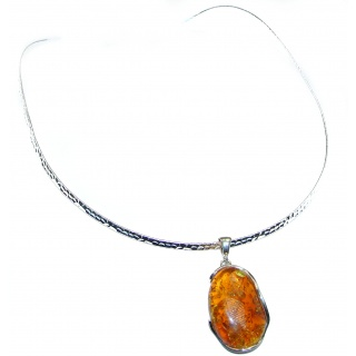 Dazzling Natural Polish Amber .925 Sterling Silver handcrafted necklace
