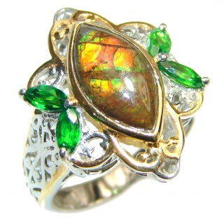 Outstanding Genuine Canadian Ammolite 18K Gold over .925 Sterling Silver handmade ring size 7 1/4