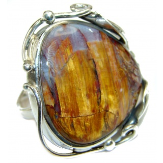 Huge Silky Golden Pietersite .925 Sterling Silver handmade Ring size 7 adjustable