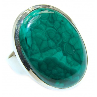 Natural Sublime quality Malachite .925 Sterling Silver handcrafted ring size 7 3/4
