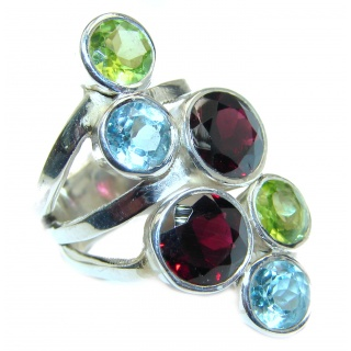 Sublime Multigem .925 Sterling Silver handmade Ring s. 6