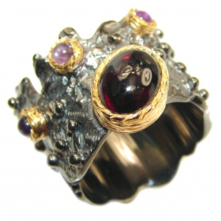 Large Genuine Garnet .925 Sterling Silver handcrafted Statement Ring size 7 1/4