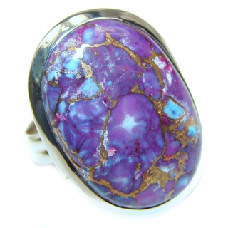Purple Turquoise .925 Sterling Silver handcrafted ring; s. 9