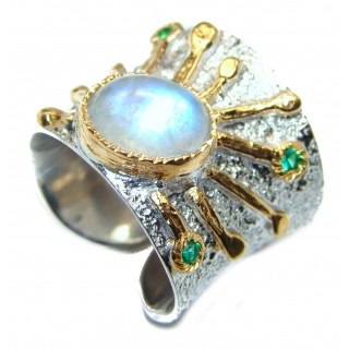 Fire Moonstone 2 tones .925 Sterling Silver handmade ring s. 6 adjustable