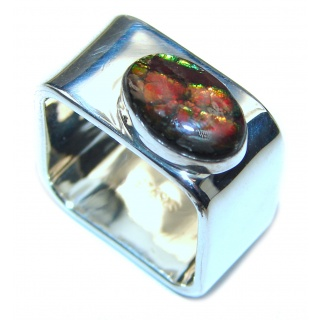 Pure Energy Fire Genuine Canadian Ammolite .925 Sterling Silver handmade ring size 6 3/4