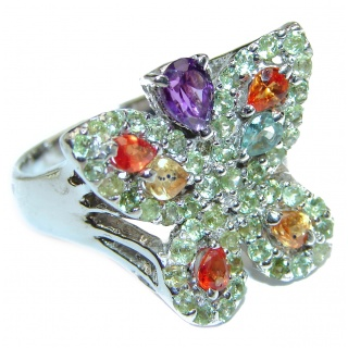 Sublime Butterfly Multcolor Sapphire .925 Sterling Silver handmade Ring s. 8
