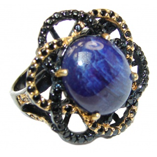Great Sapphire black rhodium over .925 Sterling Silver Ring size 8 1/4