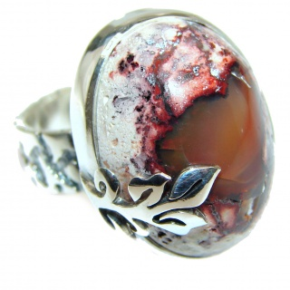 Good Energy Orange Genuine Mexican Opal .925 Sterling Silver handmade Ring size 6 3/4