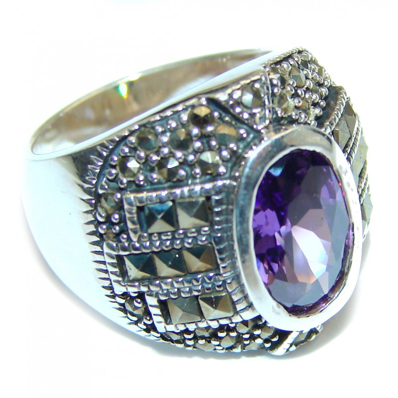 Amazing Created Alexandrite Marcasite Sterling Silver Ring s. 6