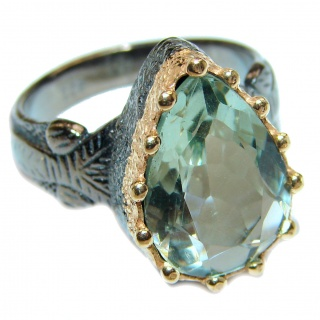 Huge Authentic green Amethyst 14K Gold over .925 Sterling Silver handcrafted ring s. 8
