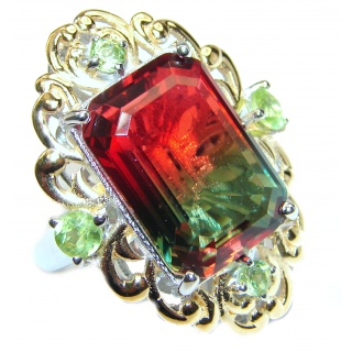 Huge Top Quality Tourmaline 18K Gold over .925 Sterling Silver handcrafted Ring s. 6 1/2