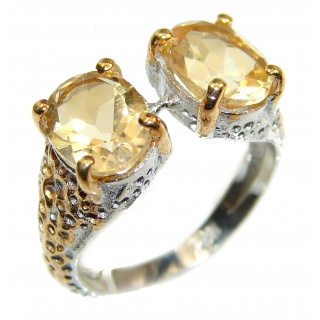 Vintage Style Natural Citrine .925 Sterling Silver handcrafted Ring s. 6 1/4