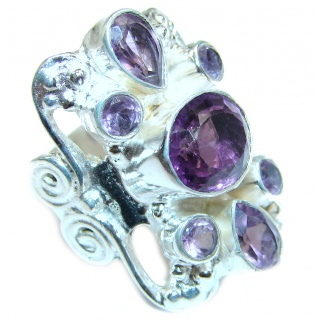 Purple Great Perfection Amethyst .925 Sterling Silver Ring size 7
