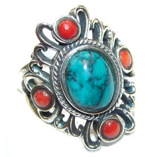 Natural Fossilized Coral & Turquoise .925 Sterling Silver handmade ring s. 8 3/4