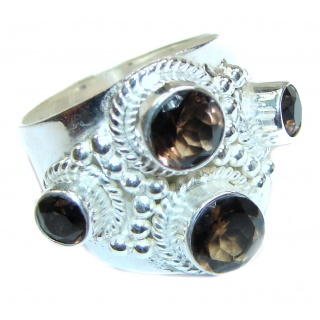 Very Bold Champagne Smoky Topaz .925 Sterling Silver Statement Ring size 9