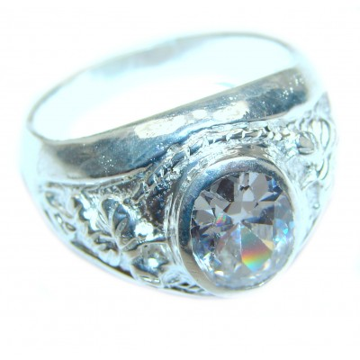 Fancy White Topaz .925 Sterling Silver handmade Ring s. 11