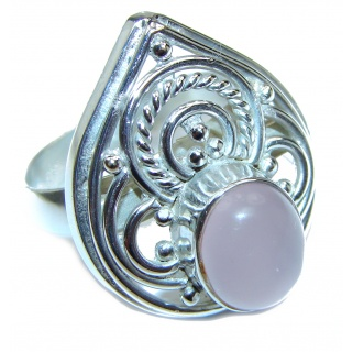 Rose Quartz Rose .925 Sterling Silver brilliantly handcrafted ring s. 9 1/4