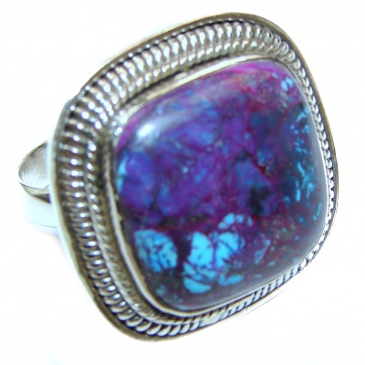 Purple Turquoise .925 Sterling Silver handcrafted ring; s. 11