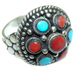 Coral Turquoise .925 Sterling Silver handcrafted Ring s. 6 3/4