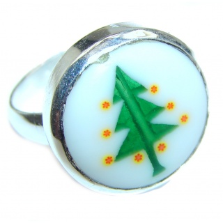 Christmas time .925 Sterling Silver handcrafted Ring size 7