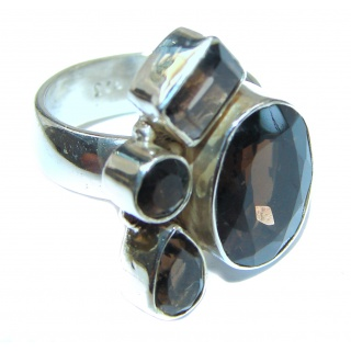 Very Bold Champagne Smoky Topaz .925 Sterling Silver Ring size 7 1/4