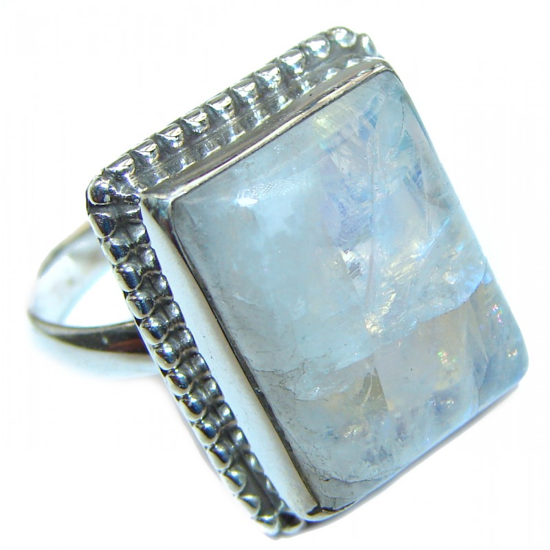 Angelica Rainbow Moonstone .925 Sterling Silver handmade Ring size 7 1/4