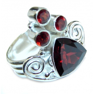 Genuine Garnet .925 Sterling Silver handcrafted Statement Ring size 7 1/4