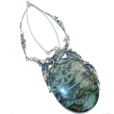 MASSIVE BEST QUALITY Rhyolite from New Zealand .925 Sterling Silver handmade Necklace