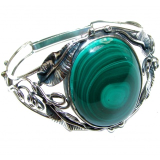 Fabulous Russian Green Malachite .925 Sterling Silver handcrafted Bracelet