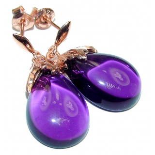Amazing authentic Amethyst Rose Gold .925 Sterling Silver handcrafted earrings