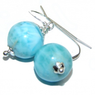 Blue Larimar .925 Sterling Silver handcrafted earrings