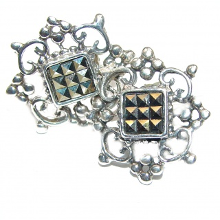 Classy Marcasite White Topaz .925 Sterling Silver handcrafted earrings