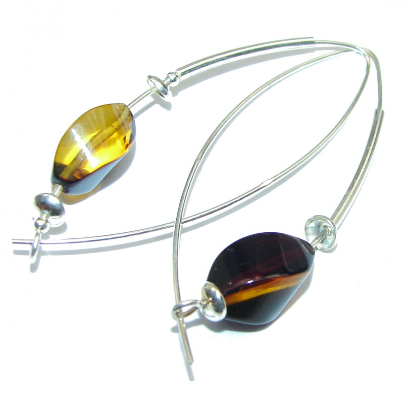 Genuine Long Baltic Polish Amber .925 Sterling Silver Earrings