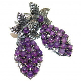 Amazing authentic Amethyst black rhodium over .925 Sterling Silver handcrafted earrings