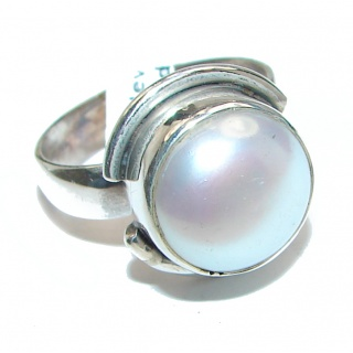Pearl .925 Sterling Silver handmade ring size 7 1/4