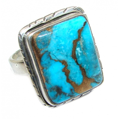 Great quality Blue Turquoise .925 Sterling Silver handcrafted Ring size 8