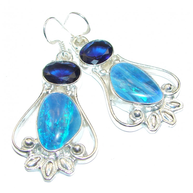 Rustic Design authentic Fire Opal .925 Sterling Silver handcrafted earrings
