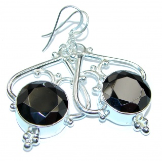 Huge Vintage style Incredible Onyx .925 Sterling Silver earrings