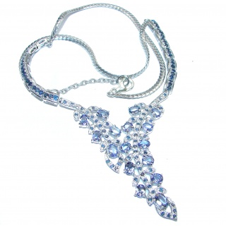 Natural luxurious Tanzanite Sapphire .925 Silver handcrafted Necklace