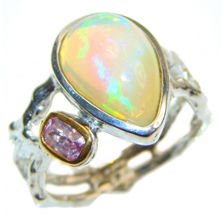 Ethiopian Opal 18k Gold over .925 Sterling Silver handcrafted ring size 7 3/4
